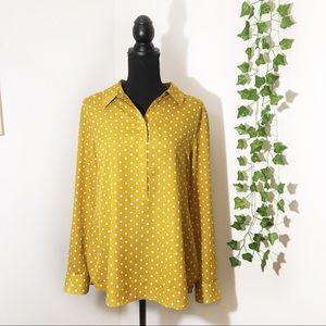 Ann Taylor | Yellow & White Polka Dot Button Down